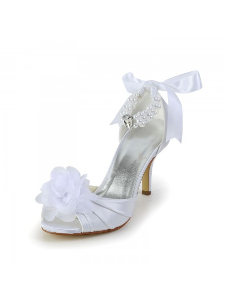 SheenOut Satin Stiletto Heel Peep Toe Dance Shoes With Imitation Pearl S583906