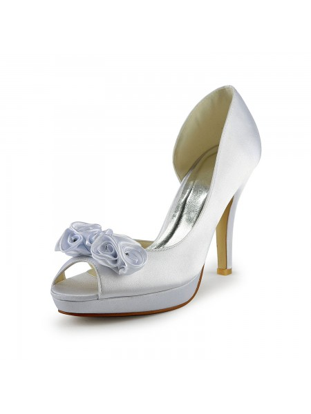 SheenOut Satin Stiletto Heel Peep Toe With Flower White Wedding Shoes S13704