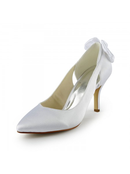 SheenOut Satin Stiletto Heel Pumps With Hollow-out White Wedding Shoes S18390B6