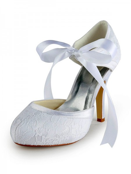SheenOut Satin Stiletto Heel Pumps with Lace White Wedding Shoes S137030A