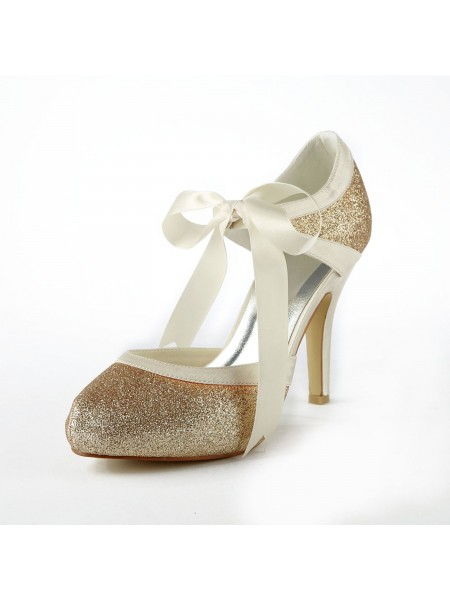 SheenOut Satin Stiletto Heel Pumps With Sparkling Glitter White Wedding Shoes S137030