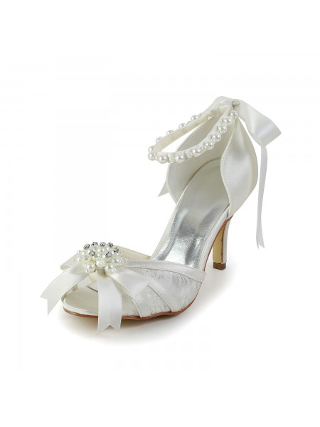 SheenOut Satin Stiletto Heel Sandals Dance Shoes Pearl S583907
