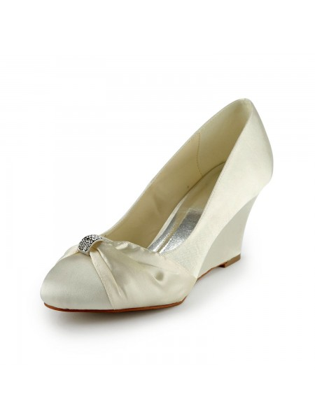 SheenOut Satin Wedge Heel Wedges With Rhinestone Ivory Wedding Shoes S1121753