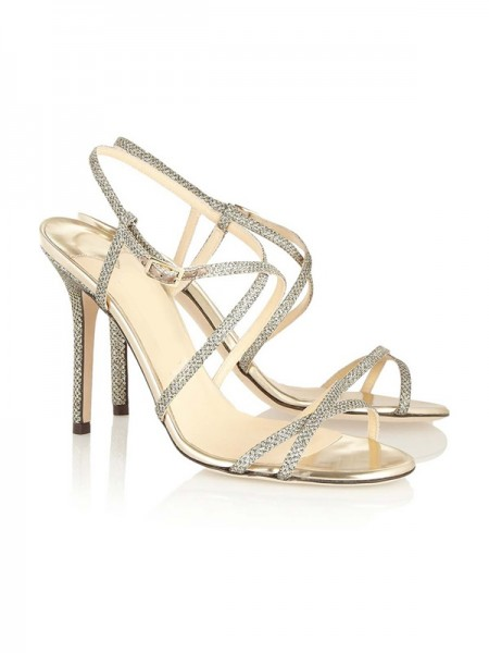 SheenOut Peep Toe Stiletto Heel With Buckle Sandals Shoes SLSDN1441LF