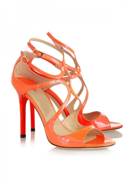 SheenOut Peep Toe Patent Leather Stiletto Heel With Buckle Sandals Shoes SLSDN1443LF