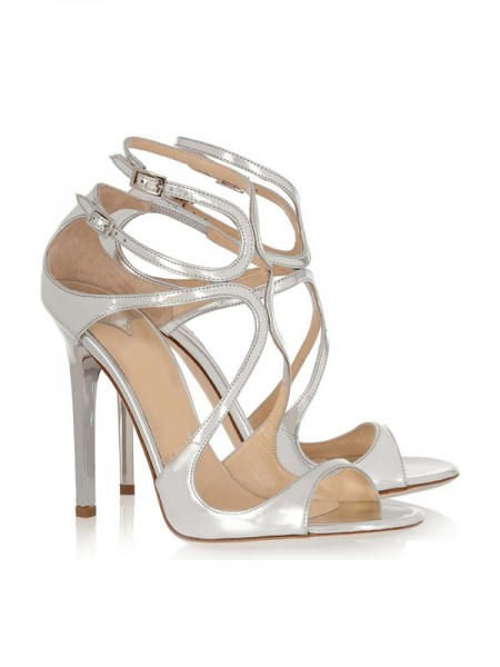 SheenOut Patent Leather Peep Toe Stiletto Heel With Buckle Sandals Shoes SLSDN1447LF