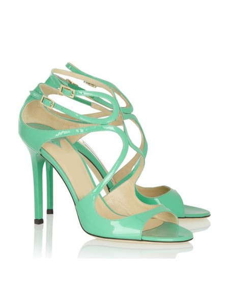SheenOut Peep Toe Stiletto Heel Patent Leather With Buckle Sandals Shoes SLSDN1462LF