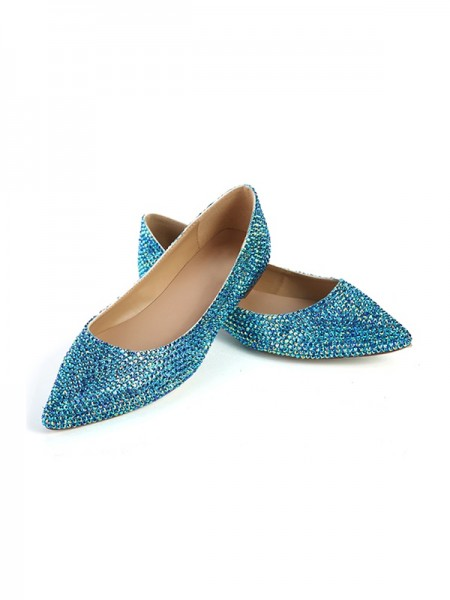 SheenOut Closed Toe Flat Heel Sheepskin With Sequin Flat Shoes SLSDN1464LF