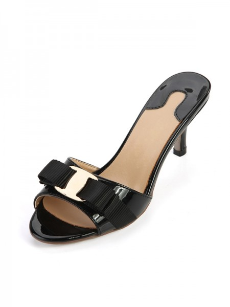 SheenOut Cone Heel Patent Leather Peep Toe Sandals Shoes SLSDN1467LF