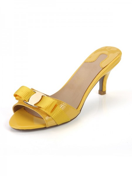 SheenOut Cone Heel Peep Toe Patent Leather Sandals Shoes SLSDN1469LF