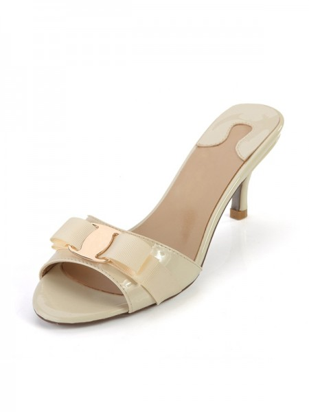 SheenOut Peep Toe Patent Leather Cone Heel Sandals Shoes SLSDN1470LF