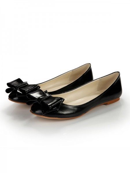SheenOut Sheepskin Flat Heel Closed Toe With Bowknot Flat Shoes SLSDN1483LF