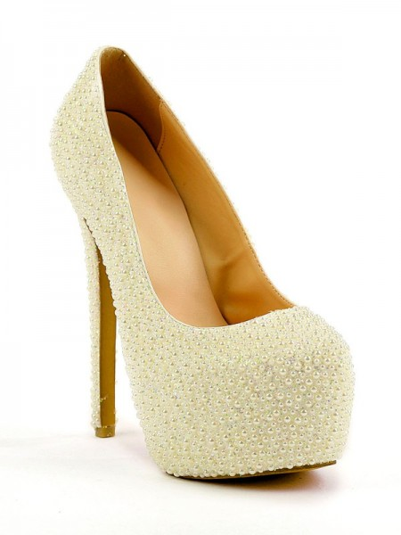 SheenOut Stiletto Heel Closed Toe Platform With Pearl High Heels SMA01420LF