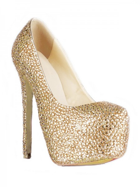 SheenOut Sheepskin Stiletto Heel Closed Toe Platform With Rhinestone High Heels SMA01830LF