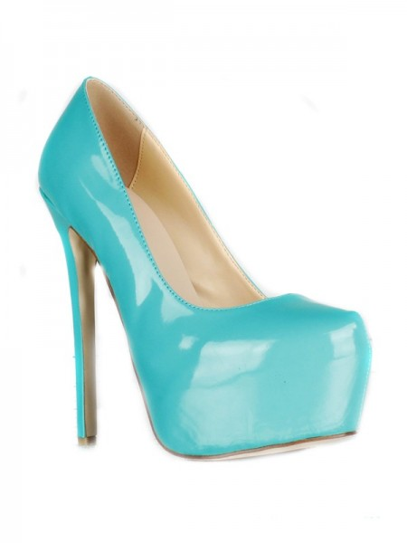 SheenOut Patent Leather Stiletto Heel Closed Toe Platform High Heels SMA01860LF
