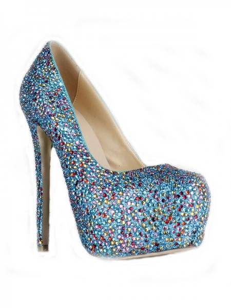 SheenOut Sheepskin Stiletto Heel Closed Toe Platform With Rhinestone High Heels SMA01880LF