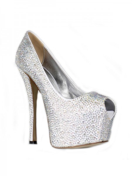 SheenOut Satin Stiletto Heel Peep Toe Platform With Rhinestone High Heels SMA01900LF