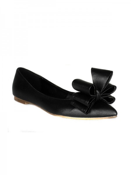 SheenOut Sheepskin Flat Heel Closed Toe With Bowknot Flat Shoes SMA02120LF