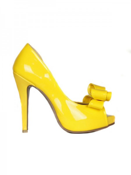 SheenOut Patent Leather Stiletto Heel Peep Toe Platform With Bowknot High Heels SMA02180LF