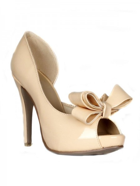 SheenOut Stiletto Heel Patent Leather Peep Toe Platform With Bowknot High Heels SMA02190LF
