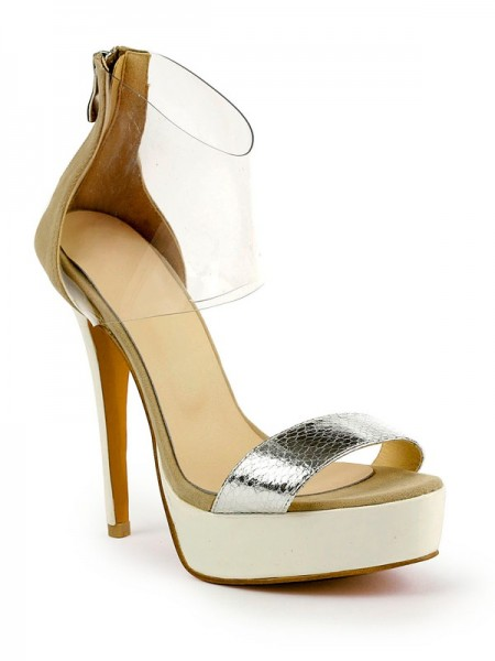 SheenOut Stiletto Heel Patent Leather Peep Toe Platform Sandals Shoes SMA02440LF