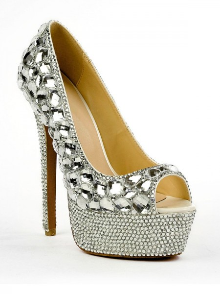 SheenOut Patent Leather Peep Toe Stiletto Heel Platform With Rhinestone High Heels SMA02450LF