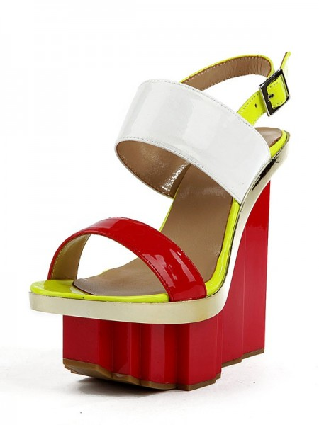 SheenOut Wedge Heel Patent Leather Peep Toe Platform Wedges Shoes SMA02570LF