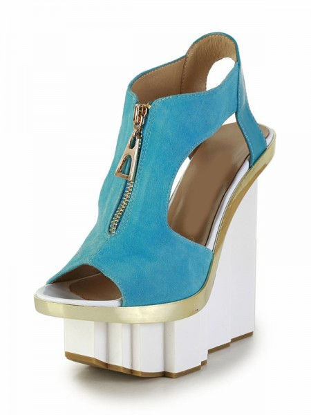 SheenOut Patent Leather Peep Toe With Zipper Platform Wedge Heel High Heels SMA02680LF