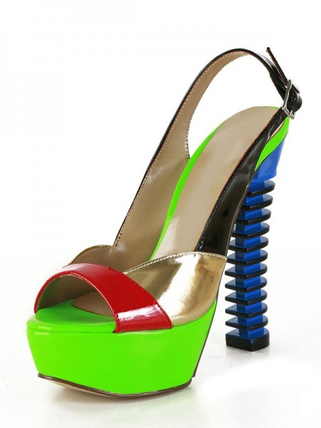 SheenOut Chunky Heel Slingbacks Patent Leather Peep Toe Platform Sandals Shoes SMA02710LF