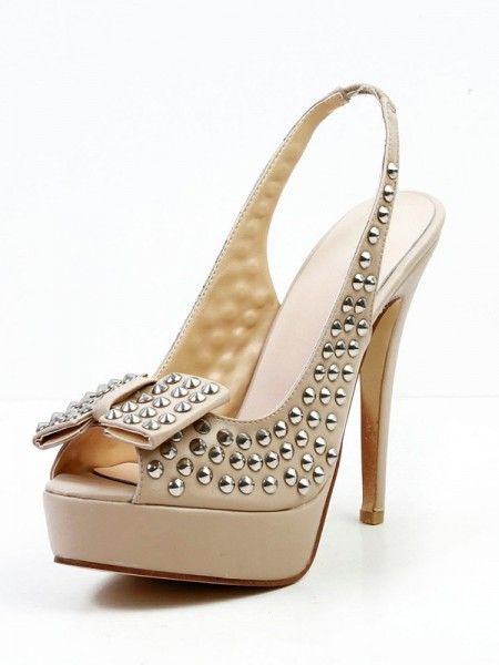 SheenOut Stiletto Heel Sheepskin Peep Toe With Bowknot Rivet Platform Sandals Shoes SMA03070LF