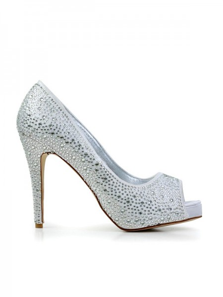 SheenOut Stiletto Heel Flock Peep Toe With Rhinestone Platform Platforms Shoes SMA03080LF