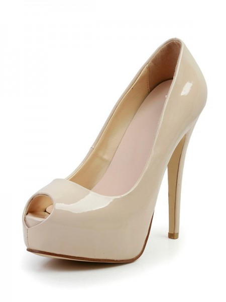 SheenOut Stiletto Heel Patent Leather Peep Toe Platform High Heels SMA03100LF
