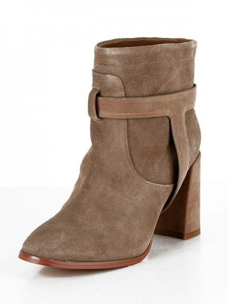 SheenOut Suede Chunky Heel Closed Toe Booties/Ankle Brown Boots SMA03240LF