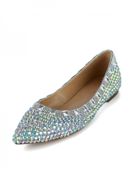 SheenOut Flat Heel Patent Leather Closed Toe With Rhinestone Flat Shoes SMA03340LF