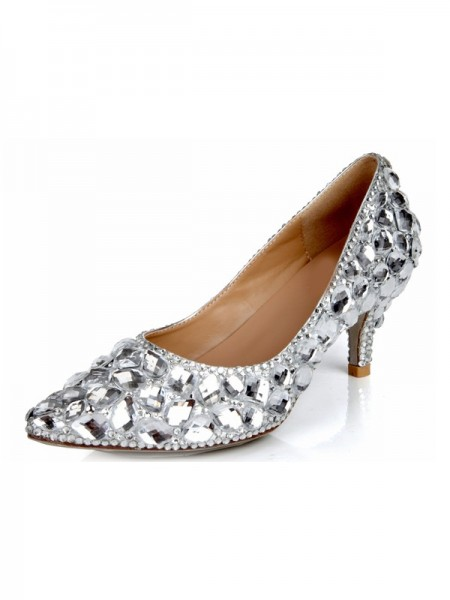 SheenOut Cone Heel Sheepskin Closed Toe Rhinestone Wedding Shoes SMA03390LF
