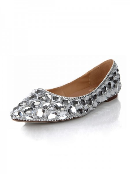 SheenOut Flat Heel Closed Toe Sheepskin With Rhinestone Flat Shoes SMA03400LF
