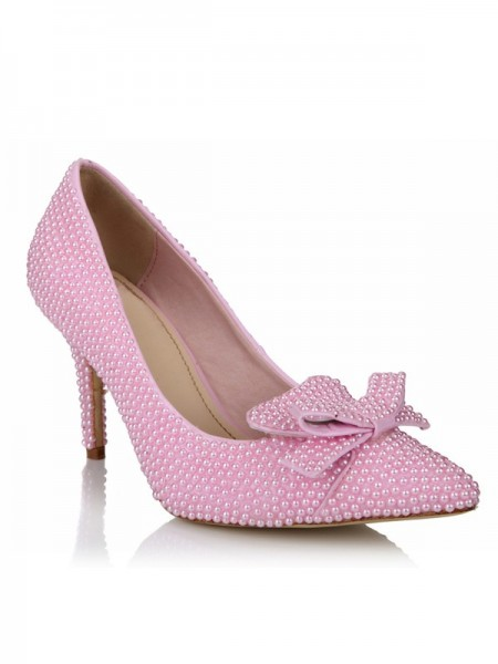 SheenOut Stiletto Heel Patent Leather Closed Toe With Pearl Bowknot Pink Wedding Shoes SMA03540LF