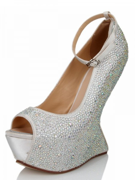 SheenOut Wedge Heel Silk Peep Toe With Rhinestone Platform Wedges Shoes SMA03550LF