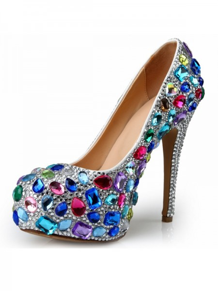 SheenOut Patent Leather Stiletto Heel Platform With Rhinestone Platforms Shoes SMA03660LF