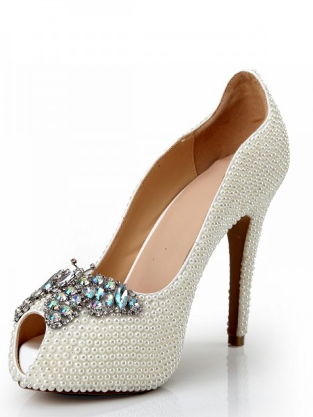 SheenOut Peep Toe Patent Leather Stiletto Heel Platform With Pearl Rhinestone Platforms Shoes SMA03680LF