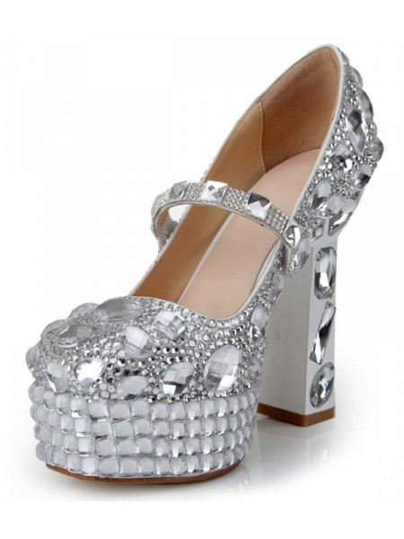 SheenOut Patent Leather Closed Toe Chunky Heel Platform With Rhinestone Platforms Shoes SMA03690LF