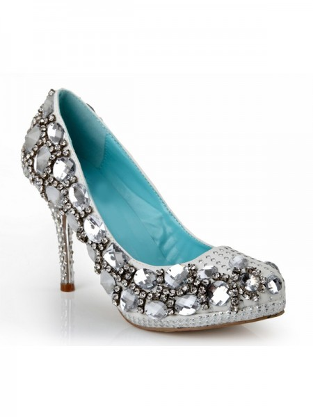 SheenOut Sheepskin Stiletto Heel Closed Toe Platform With Rhinestone Platforms Shoes SMA03720LF
