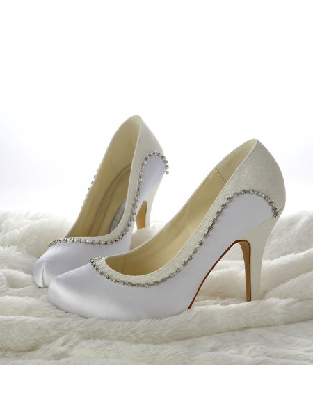 SheenOut Stiletto Heels Closed-toe Beading White Wedding Shoes S13705