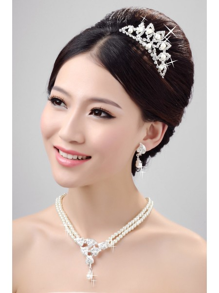 Stunning Pearls Alloy Clear Crystals Wedding Headpieces Necklaces Earrings Set