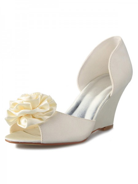 SheenOut Wedge Heel Satin Peep Toe With Flower White Wedding Shoes SW01217511A1I
