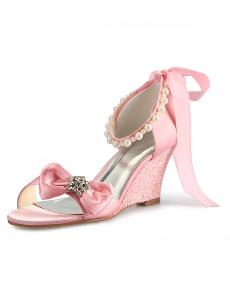 SheenOut Satin Wedge Heel Peep Toe With Rhinestone Pearl Bowknot Pink Wedding Shoes SW0121755A1I