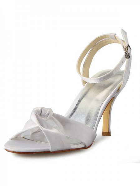 SheenOut Stiletto Heel Peep Toe Satin With Buckle Mary Jane White Wedding Shoes SW0141101I