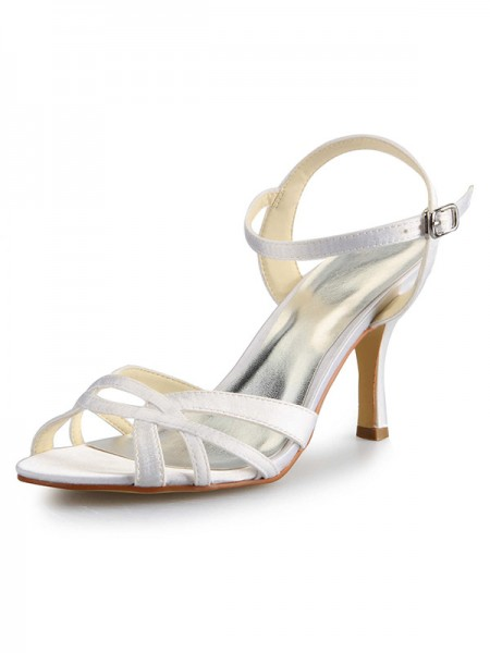 SheenOut Stiletto Heel Peep Toe Satin With Buckle Sandal Dance Shoes SW0141111I