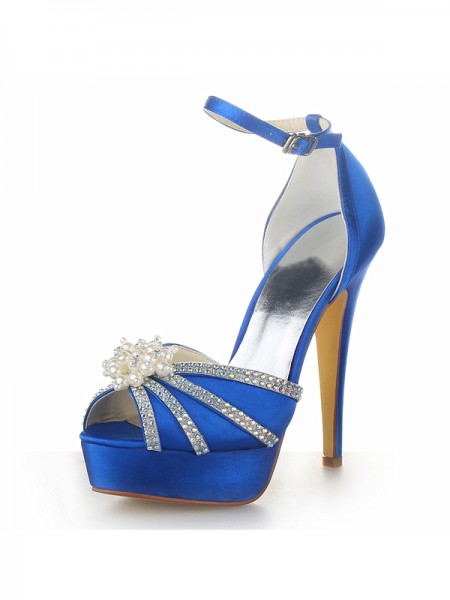 SheenOut Satin Stiletto Heel Platform Peep Toe With Pearl Royal Blue Wedding Shoes SW0201331I