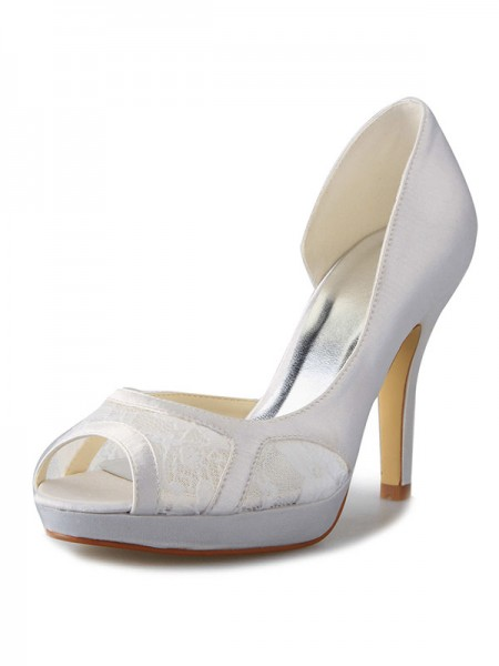 SheenOut Stiletto Heel Satin Platform Peep Toe With Lace White Wedding Shoes SW0370801I